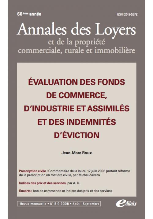 Evaluation des fonds de commerce, d'industrie et assimilés ..