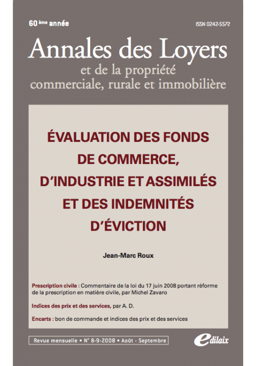 Evaluation des fonds de commerce, d'industrie et assimilés ..