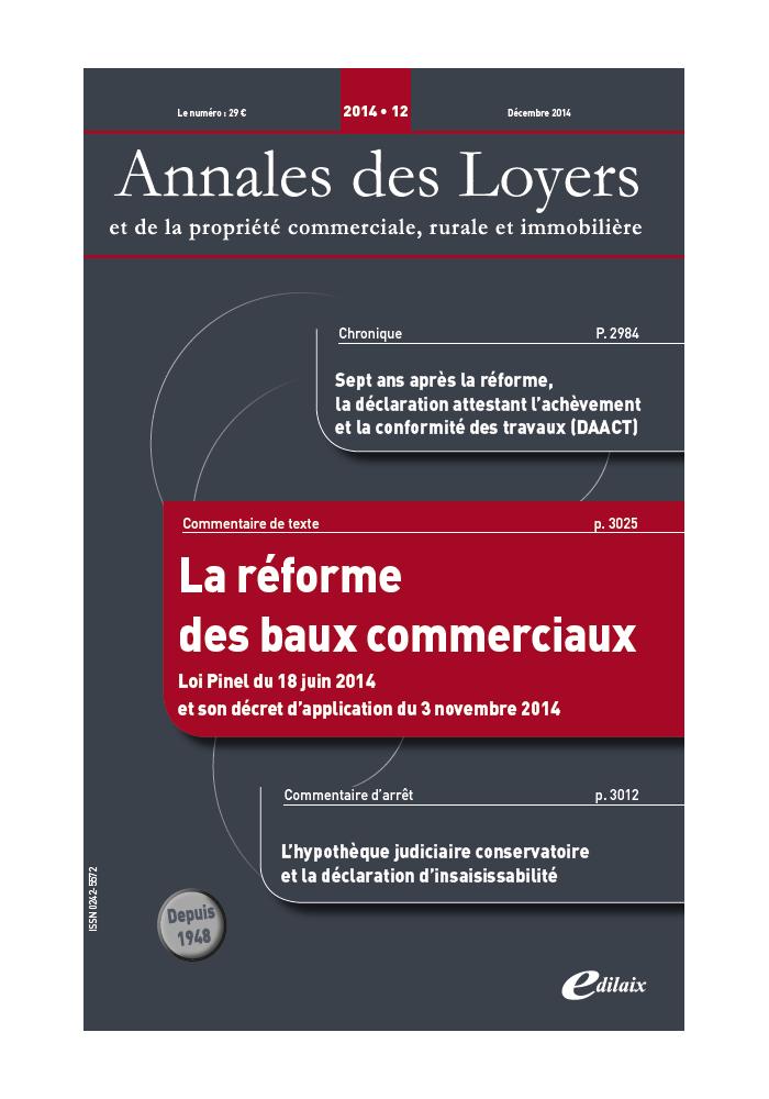Annales des Loyers Décembre 2014