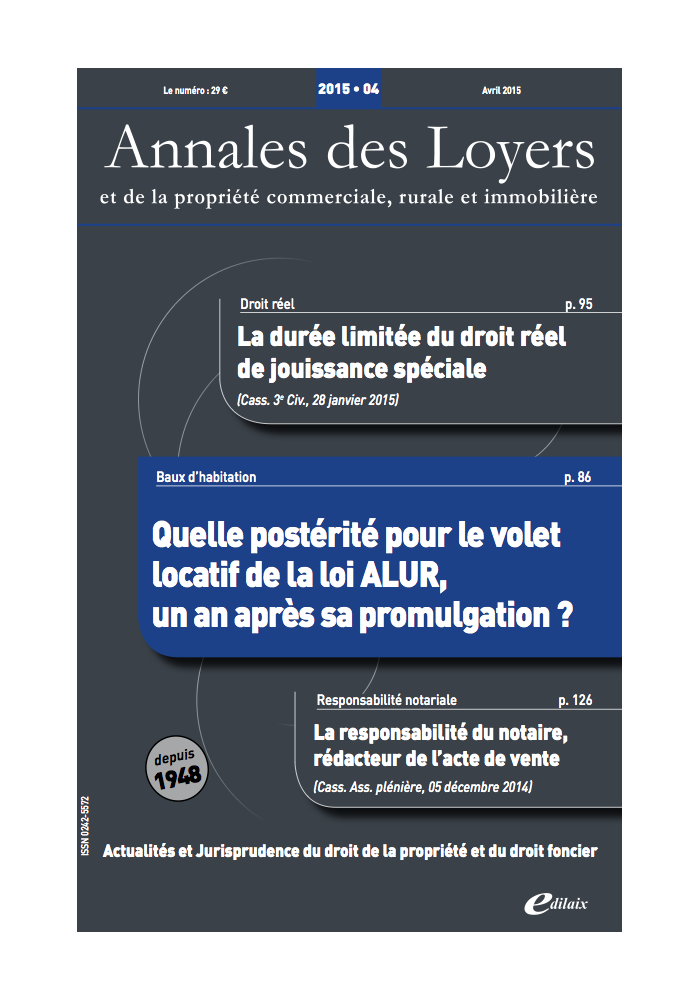Annales des Loyers Avril 2015