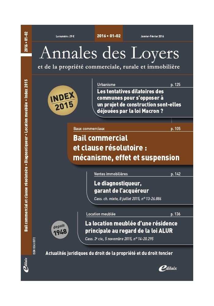 Annales des Loyers Janvier/ Février 2016
