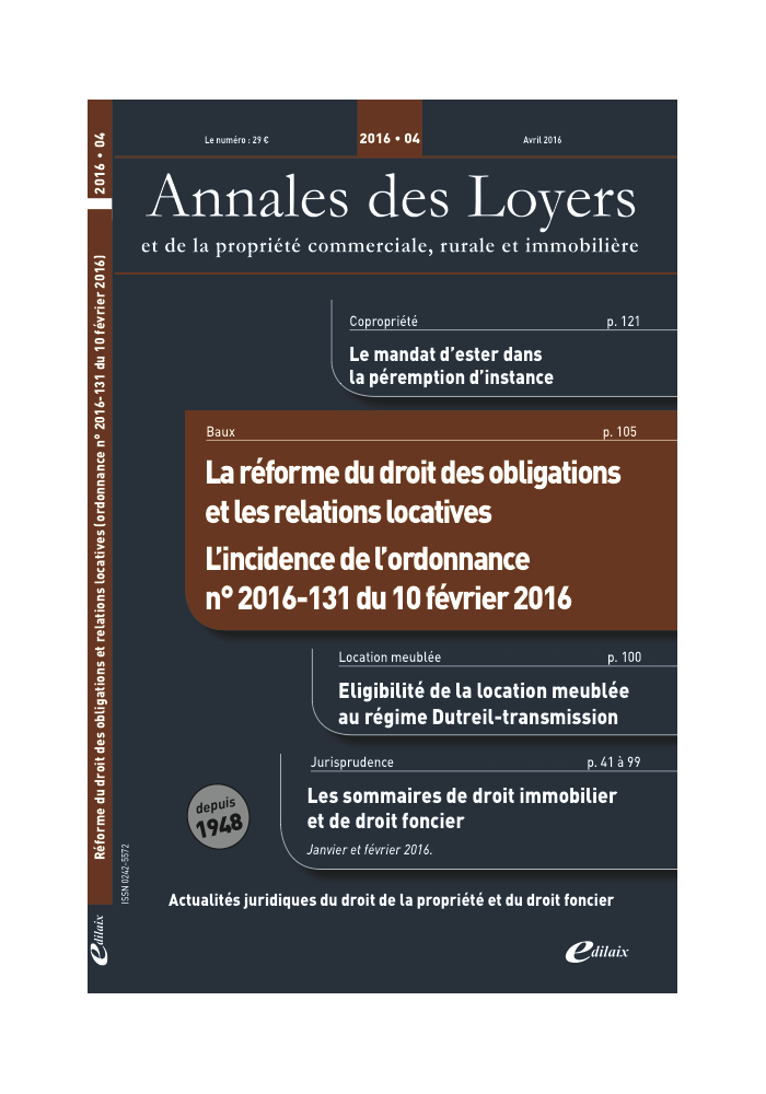 Annales des Loyers Avril 2016