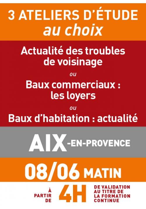ATELIERS D'ETUDE - Aix en Provence - Jeudi 8 juin 2017