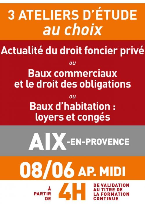 ATELIERS D'ETUDE - Aix en Provence - Jeudi 8 juin 2017 a.midi