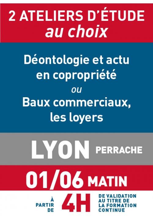 ATELIERS D'ETUDE - Lyon - Jeudi 1 juin 2017 - Matin