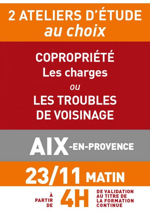 ATELIERS D'ETUDE - Aix - Jeudi 23 nov 2017