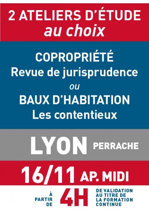 ATELIERS D'ETUDE - Lyon - Jeudi 16 nov 2017