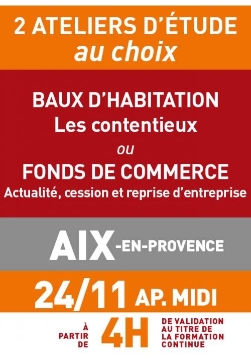 ATELIERS D'ETUDE - Aix - Vendredi 24 nov 2017