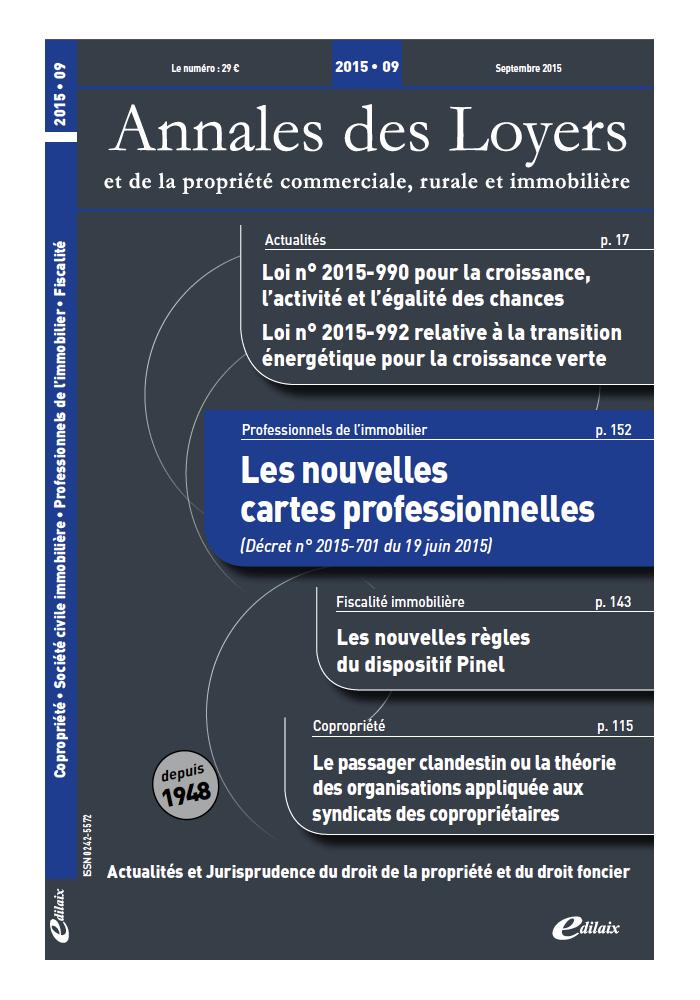 Annales des Loyers Septembre 2015