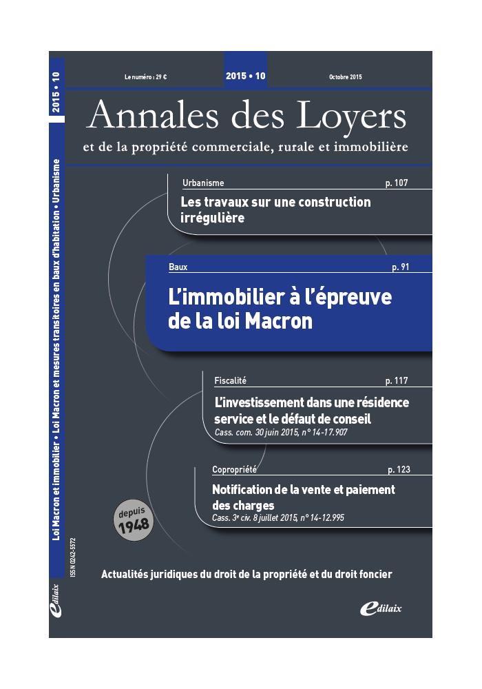 Annales des Loyers Octobre 2015