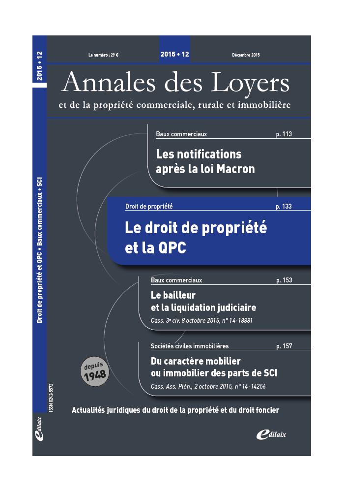 Annales des Loyers Décembre 2015