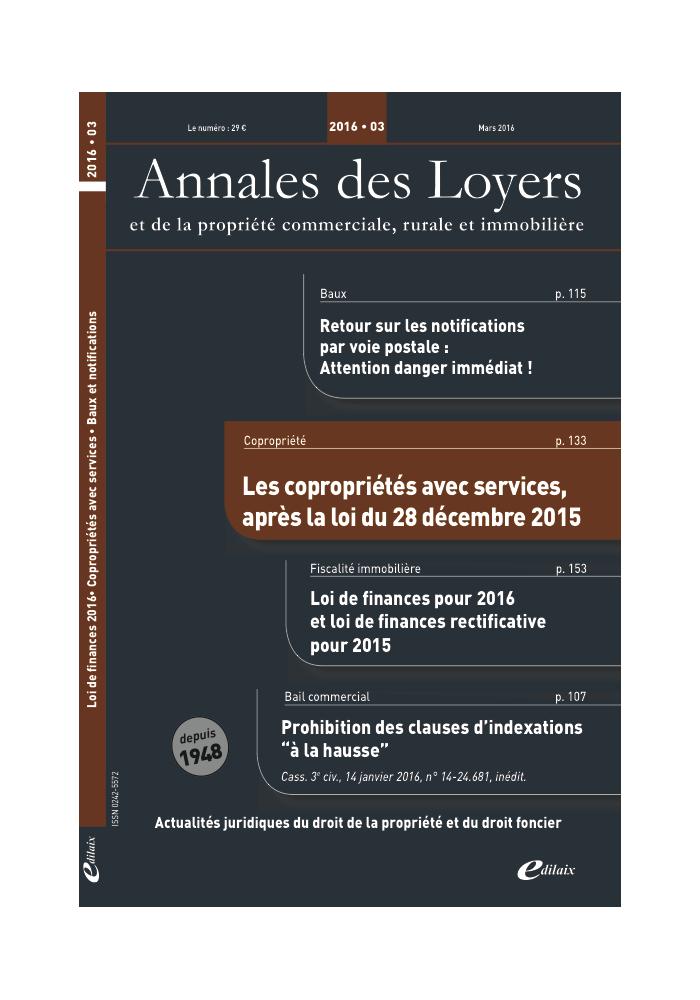 Annales des Loyers Mars 2016