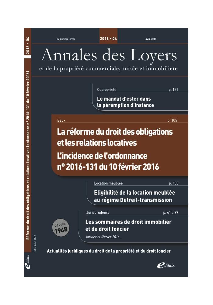 Annales des Loyers Avril 2016