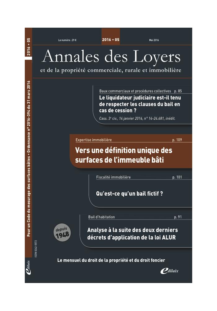 Annales des Loyers Mai 2016