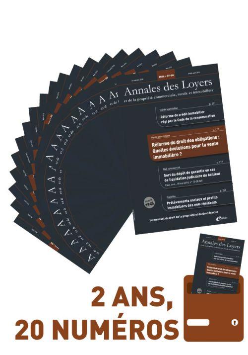 Abonnement 2 ans - Annales des Loyers