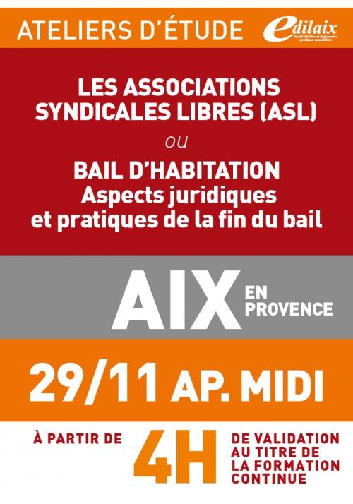 ATELIERS D'ETUDE - Aix-en-Provence - Jeudi 29 novembre 2018 - Après-midi