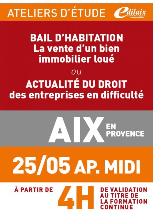 ATELIERS D'ETUDE - Aix-en-Provence - Vendredi 25 mai 2018 - Après-midi