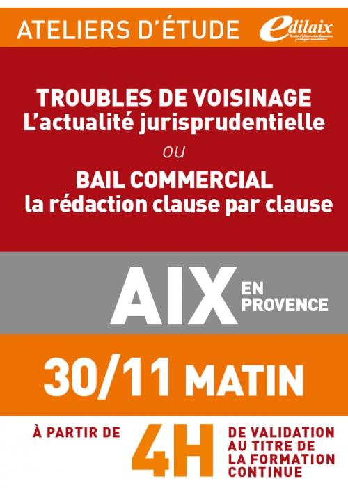 ATELIERS D'ETUDE - Aix-en-Provence - Vendredi 30 novembre 2018 - Matin