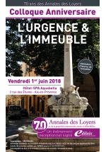 Colloque Anniversaire : 70 ans des Annales des Loyers, Vendredi 1er juin 2018 - Hôtel-SPA Aquabella à Aix-en-Provence