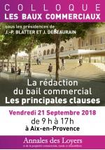 Colloque Baux Commerciaux Vendredi 21 septembre 2018 à Aix-en-Provence