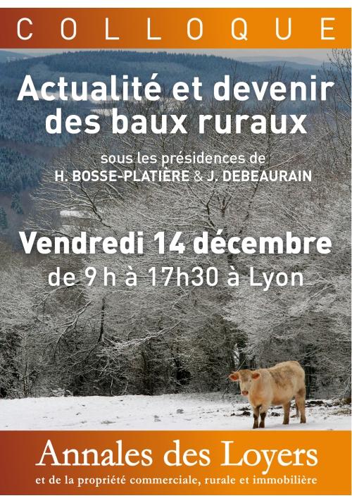 Colloque Baux Ruraux Vendredi 14 décembre 2018 À Lyon
